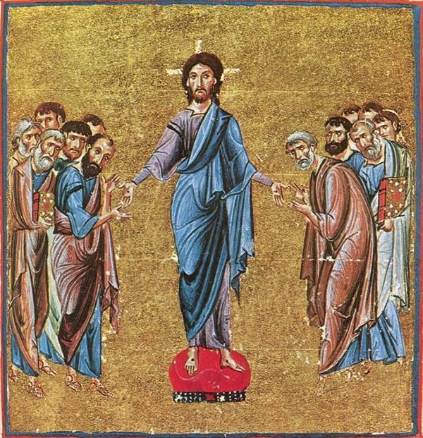 Явление Христа апостолам по Воскресении. Книжная миниатюра. Византия. XI в.