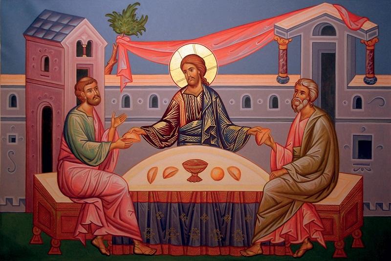 Христос с Лукой и Клеопой в Эммаусе. Икона